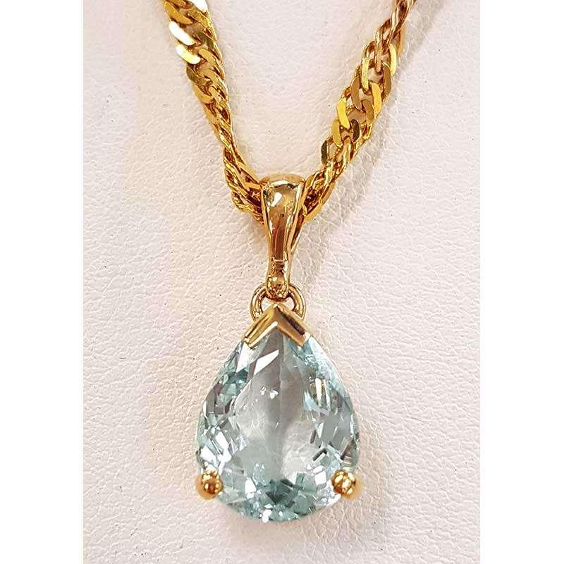 aquamarine gold pendant drop necklace