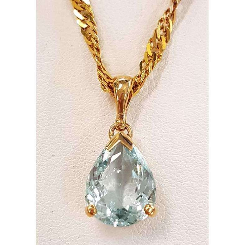 aquamarine gold pendant drop necklace