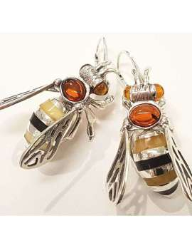 Sterling Silver and Amber Bee Earrings