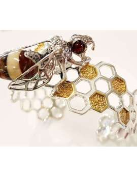 Sterling Silver and Amber Bangle