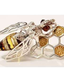 Sterling Silver and Amber Bee Brooch