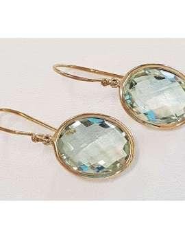 9ct Gold Green Amethyst Oval Earrings