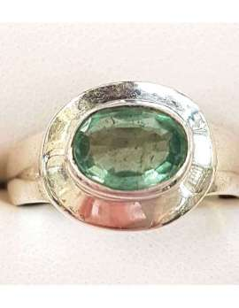 Sterling Silver Oval Green Tourmaline Ring