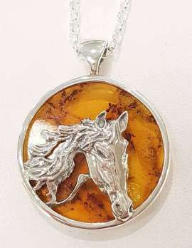 Sterling Silver Amber Horse pendant