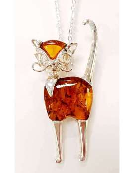 Brown amber sterling silver cat pendant