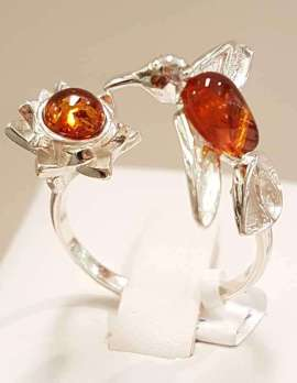 Sterling Silver Amber Hummingbird with Flower Ring