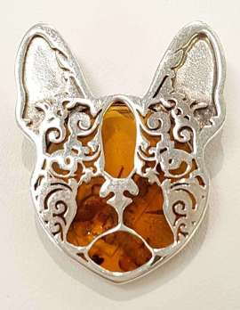 Sterling silver and amber pug dog brooch