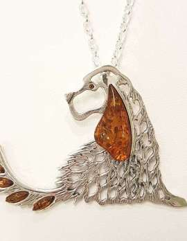 Sterling silver and amber spaniel dog pendant