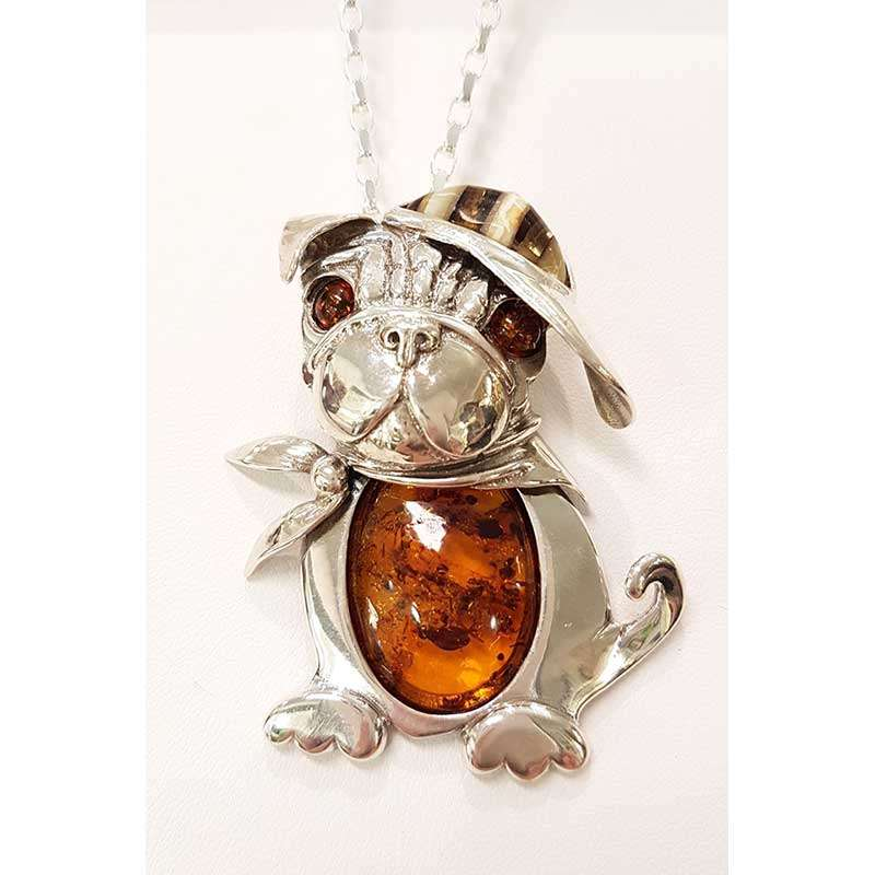 Sterling silver amber dog pendant with cap and scarf