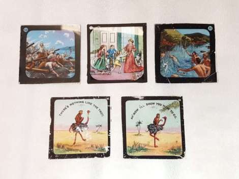 Assorted set of 5 Glass slides. All with Different motifs .