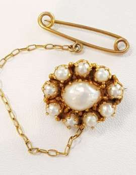 15ct Gold Pearl Oval Cluster Brooch with Safety Chain