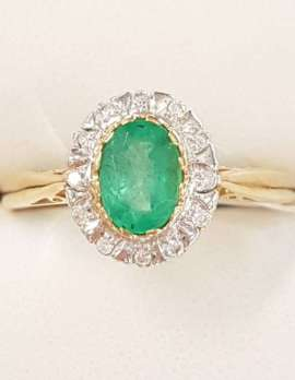 9ct Gold Natural Emerald and Diamond Oval Ring