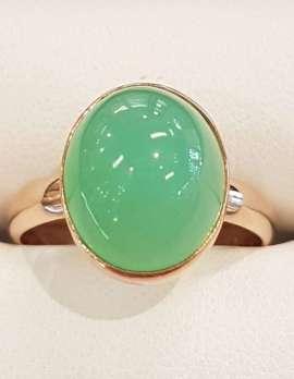 9ct Rose Gold Bezel Set Chrysophrase / Australian Jade Ring