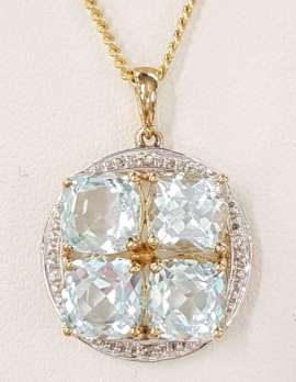 9ct Gold Topaz and Diamond Pendant on 9ct Chain