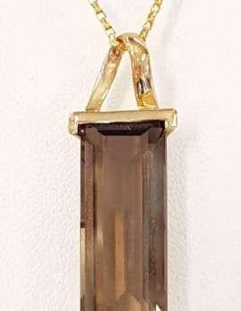 9ct Gold Smokey Quartz Pendant on 9ct Chain