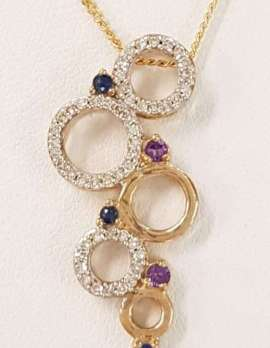 9ct Yellow Gold Sapphire, Diamond and Amethyst Pendant on 9ct Chain