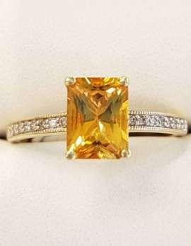 9ct Gold Rectangular Citrine and Diamond Ring