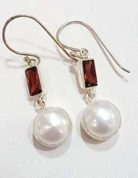Sterling Silver Pearl and Garnet Drop Earrings