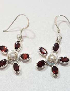 Sterling Silver Pearl and Garnet Flower Earrings