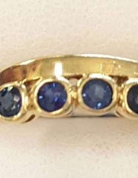 9ct Yellow Gold Natural Sapphire Curved Ring