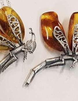 Sterling Silver Chunky Amber Dragonfly Pendant on Sterling Silver Necklace