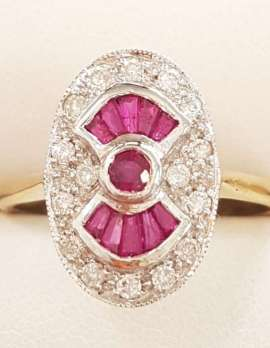 9ct Yellow Gold Natural Ruby and Diamond Ring - Oval - Art Deco Style