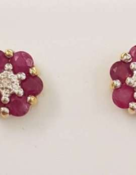 9ct Gold Natural Ruby Stud Earrings