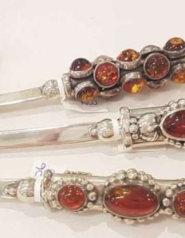 Sterling Silver Amber Items - Letter Openers and Unusual Figurines