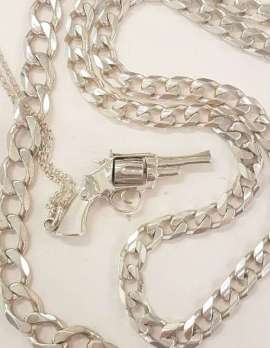 Sterling Silver Heavy Curb Link Necklace, Bracelet as well as a Sterling Silver Revolver / Gun Pendant on Chain