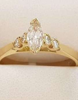18ct Gold Marquis Cut with 4 Round Diamonds Engagement Ring
