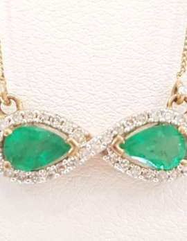 9ct Gold Emerald and Diamond Infinity Necklace