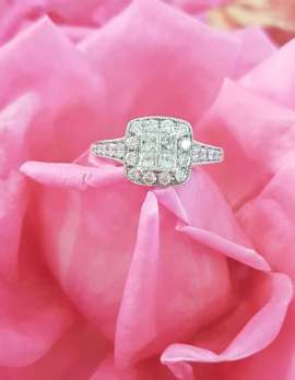 9ct White Gold Diamond Engagement Ring - Square Cluster