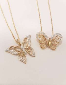 9ct Gold Ornate Diamond Butterfly Pendants on 9ct Gold Chains