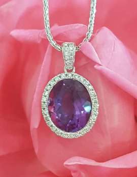 9ct White Gold Oval Amethyst and Diamond Pendant on 9ct Chain