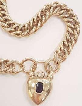 9ct Gold Curb Link Bracelet with Garnet Padlock Clasp