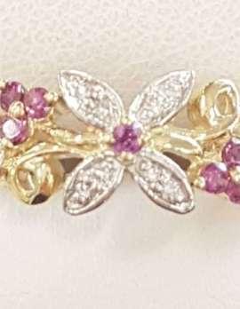 9ct Rhodolite Garnet and Diamond Ring - Floral
