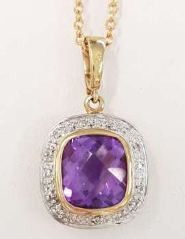 9ct Gold Amethyst and Diamond Pendant on 9ct Chain