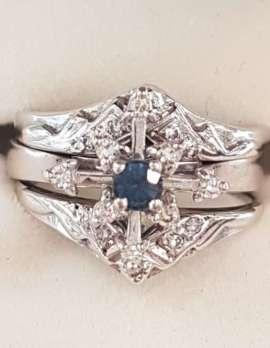 18ct White Gold Sapphire and Diamond 3 Ring Set