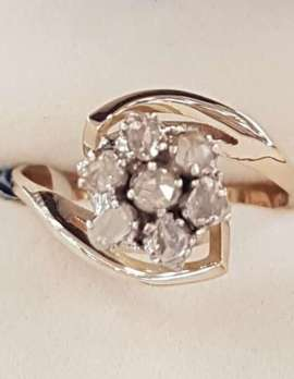18ct Yellow Gold Rose Cut Diamond Flower Cluster Ring
