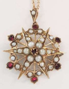 Antique Gold Seedpearl and Garnet Star Pendant on Chain