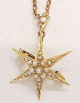 15ct Yellow Gold Seedpearl Star Brooch/Pendant on 9ct Gold Chain - Antique / Vintage