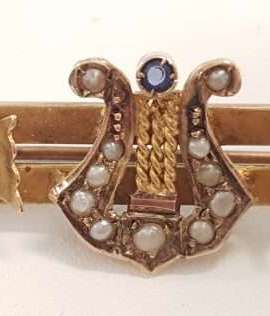 9ct Yellow Gold Sapphire and Seedpearl Lyre Harp Ornate Bar Brooch