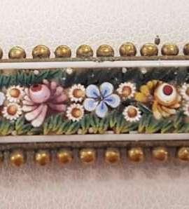 9ct Yellow Gold Micro Mosaic Floral Ornate Bar Brooch