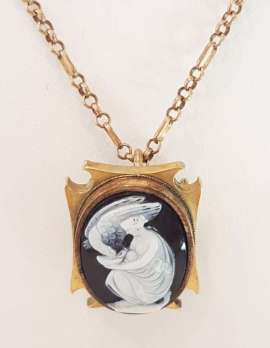 9ct Yellow Gold Ornate Black Onyx Cameo Pendant on 9ct Chain