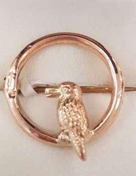 9ct Rose Gold Round Kookaburra Brooch