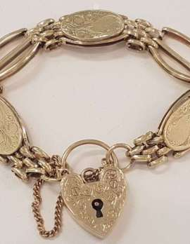 9ct Yellow Gold Gatelink with Oval Discs Bracelet