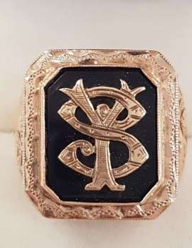 9ct Rose Gold Large Ornate Monogrammed Onyx Gents Ring
