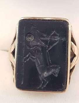 9ct Rose Gold Large Black Onyx Carved Onyx Rectangular Ring - Chariot Scene