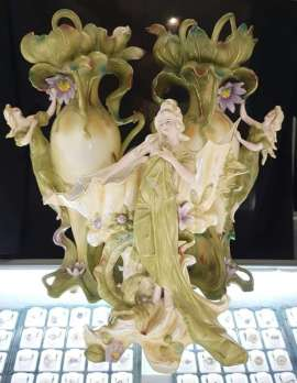 Set of 3 Tall Vases - Nouveau Ladies - Bisque