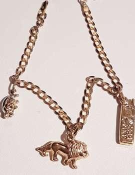 9ct Gold Charm Bracelet - 3 Charms